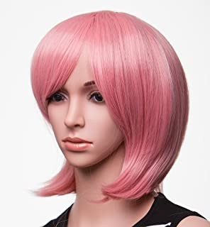"SWACC 11"" Women Short Straight Synthetic Bob Wig Candy color Cosplay Wig Anime Costume hairpiece for Party with Wig Cap (Pink-14)"
