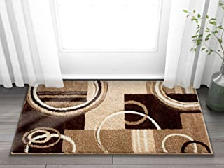 Echo Shapes Circles Ivory Beige Brown Modern Geometric Comfy Casual Hand Carved 2x3 (2' x 3') Area Rug Easy to Clean Stain Fade Resistant Abstract Contemporary Thick Soft Plush Living Dining Room Rug