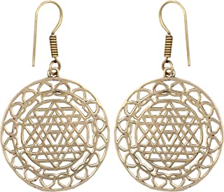Shri Surya Handicraft Lightweight Hollow Decorative Shree Yantra Pattern Dangle Earrings