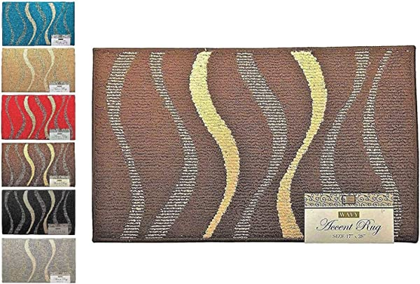 Fashion Wavy Pattern Rug Non Skid Home Kitchen Floor Mat Comfortable Standing And Entrance Rug 17 X 28 Brown