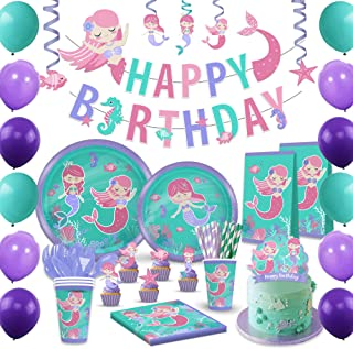 Mermaid Birthday Party Supplies and Decorations Kit - Paper Plates, Napkins, BPA Free Cups, Table Cloth, Happy Birthday Ba...