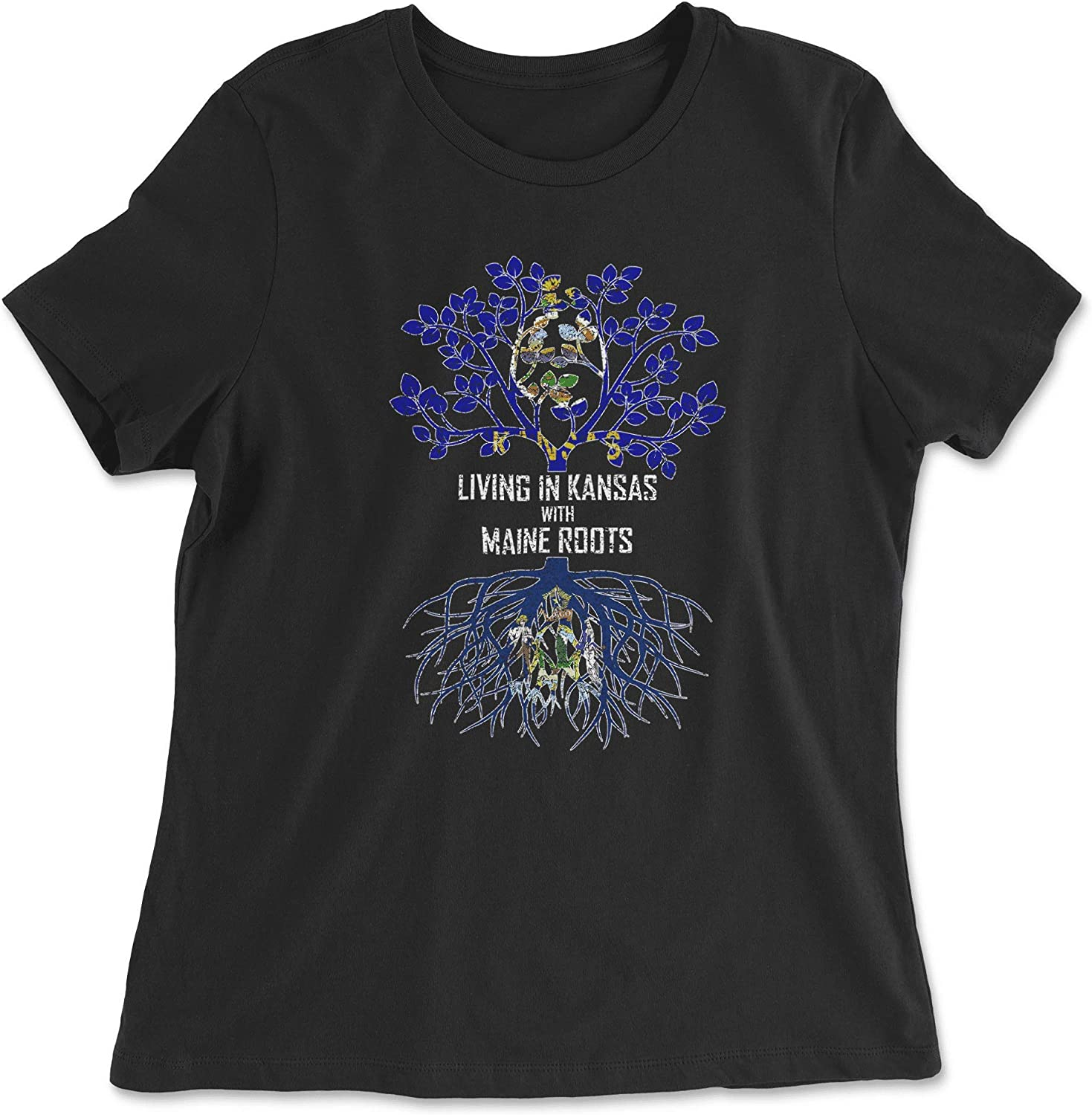 HARD EDGE DESIGN Women's Living in Kansas with Maine Roots T-Shirt
