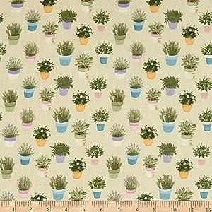 STOF France Digital Le Quilt Garden Vert Fabric