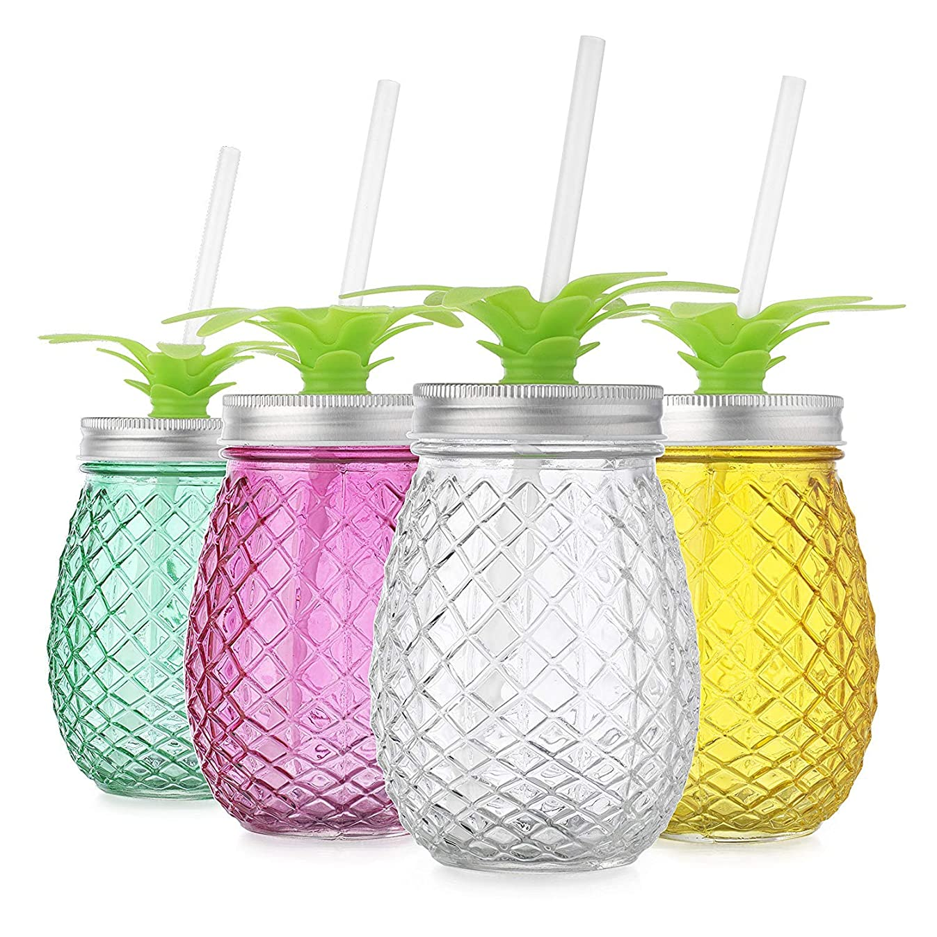 Set of 4 Assorted Colors Pineapple Shape Glass Sipper with Metal Lids & Plastic Straws (17.5 Oz)