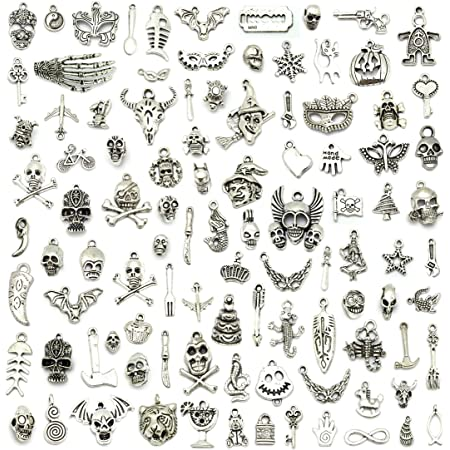 Wholesale Bulk Lots Hallowmas Skull Skeleton Charms Mixed Silver Plated Halloween Mask Charms Pendants DIY for Jewelry Making and Crafting, JIALEEY 100 PCS Hallowmas Style