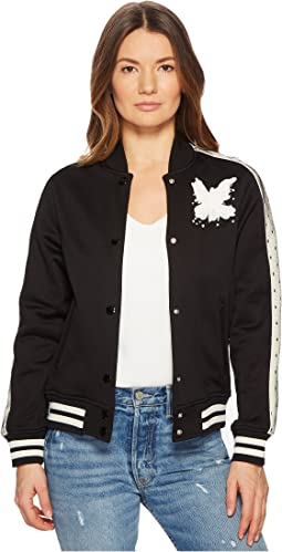 Jersey Bomber with Point D'Esprit Stripe Bird Embroidery