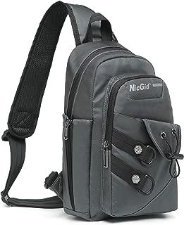 Nicgid Sling Bag Chest Shoulder Backpack Crossbody Bags for iPad Tablet Outdoor Hiking Men Women (Grey(Fits 9.7'' iPad))