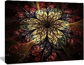 """Designart PT11807-20-12 Fractal Flower Yellow Red Digital Art Large Flower canvas Wall Art,Gold,20x12"""""""