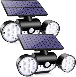 Outdoor Solar Lights, Ollivage 30 LED Solar Security Lights with Motion Sensor Dual Head Spotlights IP65 Waterproof 360° Adjustable LED Solar Motion Lights for Front Door Garage Patio Deck, 2 Pack
