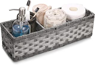 [Larger Compartments] Toilet Paper Basket for Tank Topper - Over, Top, Back of Toilet Tank Tray Split Hand-woven Basket - ...