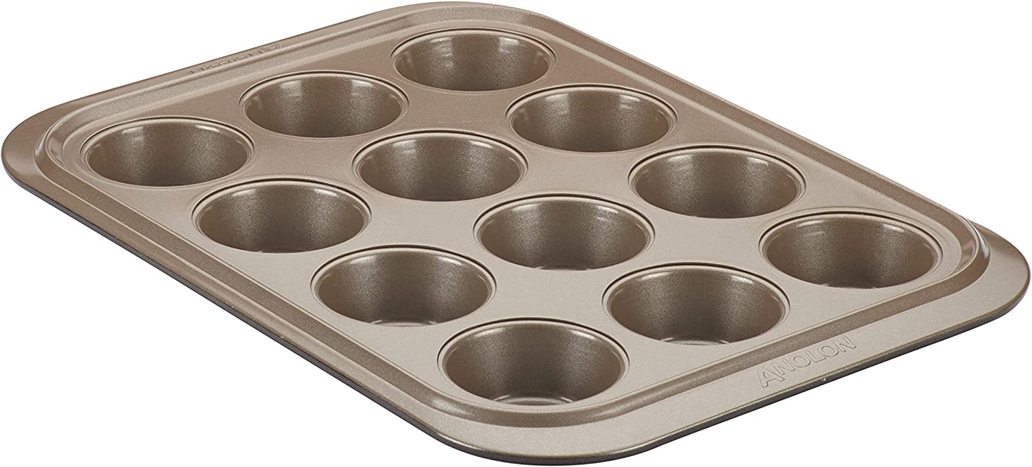 Anolon 12-Cup Steel Muffin Pan Umber security Indianapolis Mall Onyx