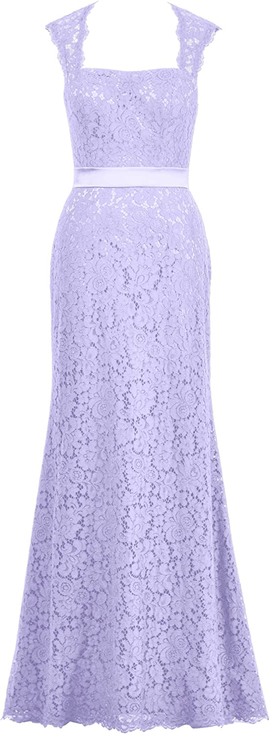 Alicepub Open Back Lace Evening Dress for Women Formal Sexy Long Maxi Party Gown