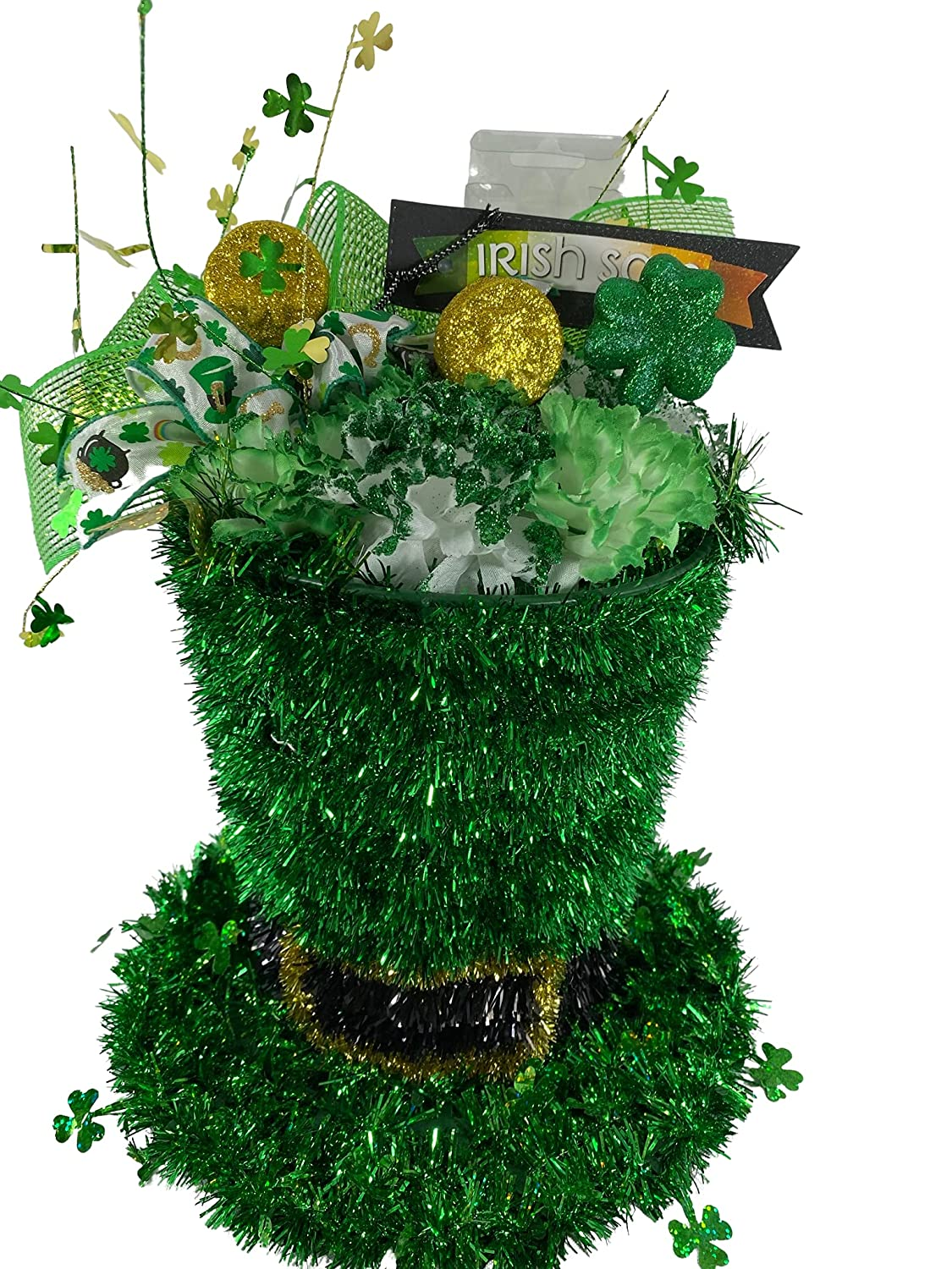 AGD St Large special price Patrick's Max 85% OFF Decor - Tinsel Cente Tophat Green Lighted
