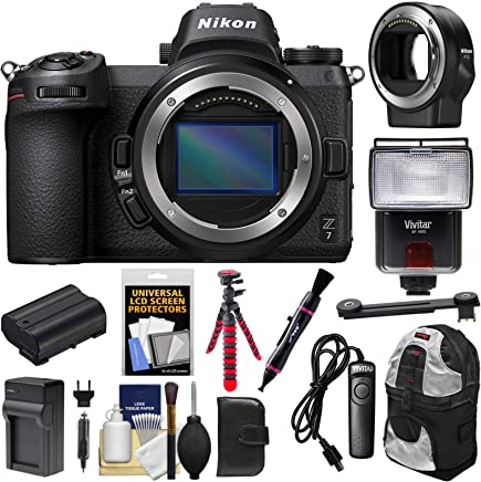 $2949 Get Nikon Z7 Mirrorless Digital Camera Body with Mount Adapter FTZ + Battery & Charger + Backpack + Tripod + Flash + Remote + Kit