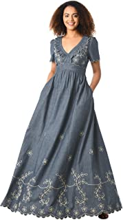 FX Floral Embellished Cotton Chambray Maxi Dress - Customizable Neckline, Sleeve