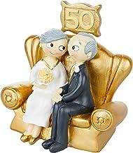 Mopec Figura Pastel Pop&Fun Bodas de Oro 16x16,5cm, acrílico, Dorado