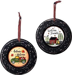 CVHOMEDECO. Primitives Rustic Homespun Hanging Decorative Plates Christmas Tree/Wall Hanging Décor Art, 5-3/4 Inch, Set of 2 (Truck & Farmhouse)