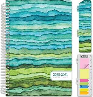 """HARDCOVER Academic Year 2020-2021 Planner: (June 2020 Through July 2021) 5.5""""x8"""" Daily Weekly Monthly Planner Yearly Agenda. Bonus Bookmark, Pocket Folder and Sticky Note Set (June 2020 - July 2021)"""