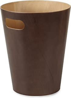 Umbra Woodrow 2 Gallon Modern Wooden Trash Can Wastebasket or Recycling Bin for Home or Office, Espresso