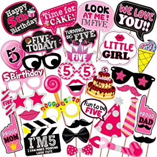 WOBBOX Fifth Birthday Photo Booth Party Props Pink for Baby Girl , 5th Birthday Decorations for Girl , Kids Birthday Party...