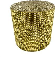 Diamond Mesh Wrap (Gold) Roll Rhinestone Crystal Ribbon 4.5″ x 10 yards