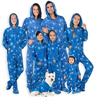 Footed Pajamas - Family Matching Snow Blizzard Day Hoodie Onesies for Boys, Girls, Men, Women and Pets