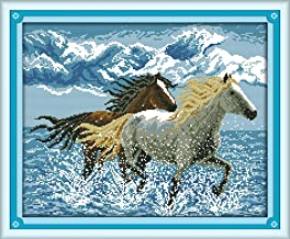 CaptainCrafts Hots Cross Stitch Kits Patterns Embroidery Kit - Running Horses (STAMPED)