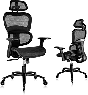 SUNNOW Ergonomic Office Chair, Mesh Desk Chair with Lumbar Support - 3D Armrest and Adjustable Headrest, Swivel Executive ...