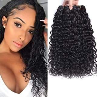 Brazilian Water Wave Bundles Brazilian Water Wave Remy Human Hair 100% Unprocessed Water Wave Bundles Virgin Human Hair Wet and Wavy Weave Extensions Natural Black14 16 18