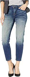 KUT from the Kloth Women's Catherine Ankle Straight Leg Jeans in Loudly w/Dark Stone Base Wash