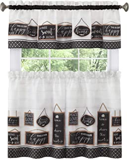 "Achim Home Furnishings Modern Farmhouse Tier and Valance Window Curtain Set, 58"" x 36"", Black"