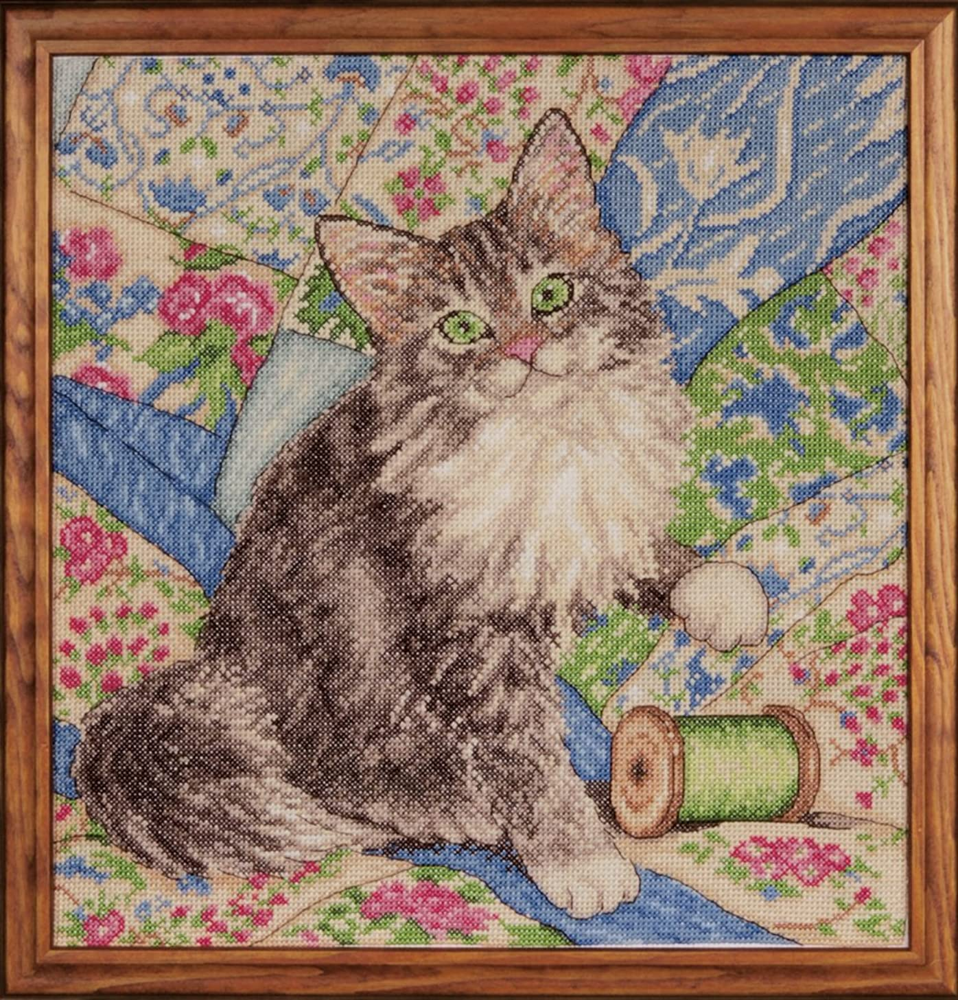 Design Works Crafts Cat on Quilt Counted Cross Stitch Kit, 12 by 12