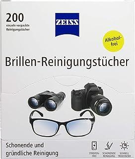 ZEISS Brillen-reinigingsdoekjes, 200 stuks, voor het voorzichtig en grondig reinigen van je brillenglazen, elke doek afzon...