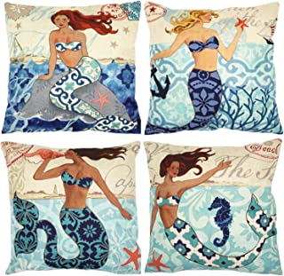 ZUEXT Nautical Mermaid Decorative Throw Pillow Covers 18 x 18 Inch Set of 4, Cotton Linen Burlap Square Outdoor Cushion Co...