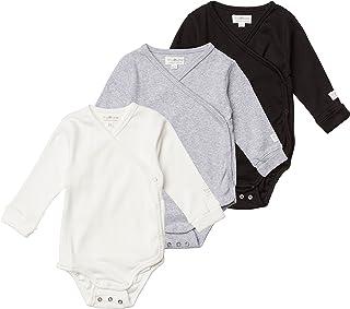 Tiny One Lot de 3 bodys à manches longues pour bébé - En coton biologique certifié GOTS - Blanc cassé, gris clair mélangé,...
