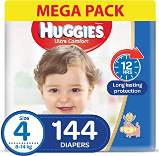 HUGGIES Ultra Comfort Diapers, Size 4, Jumbo Pack, 8-14 kg, 144 Diapers