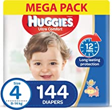 Huggies Ultra Comfort, Size 4, 8-14 kg, Jumbo Pack, 144 Diapers