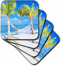 3dRose cst_35338_1 Palm Trees and Hammock with Ocean-Soft Coasters, Set of 4