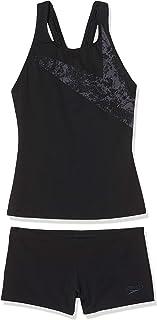 Speedo Women's Boomstar Placement Boyleg Tankini, Black/Oxid Grey, 32 (UK 10)