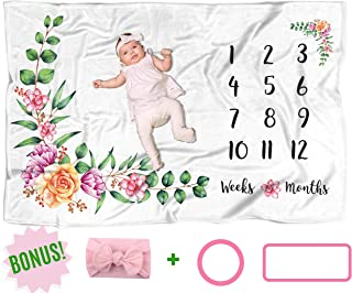 Baby Monthly Milestone Blanket with Head Bow, Large 60x40 Month Blankets Girl, Soft Newborn Photography Background Mat, Infant Photo Prop, Wreath Months Marker, Personalized Floral Nursery Baby Shower