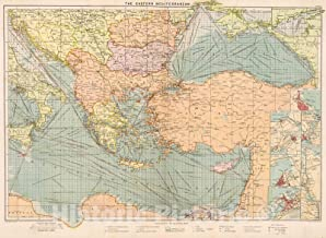 Historic Pictoric Map : The Eastern Mediterranean, 1905, Vintage Wall Decor : 60in x 44in