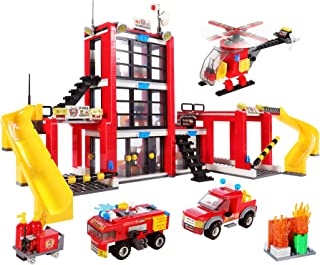 896 Pieces City Fire Station STEM Building Blocks Set, Fire Truck, Helicopter, Vehicle, Creative Fire Rescue Toy, Baseplat...