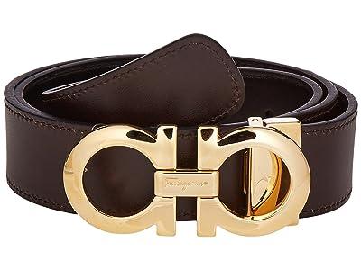 Salvatore Ferragamo Reversible/Adjustable Belt 675542 (Nero/Hickory) Men