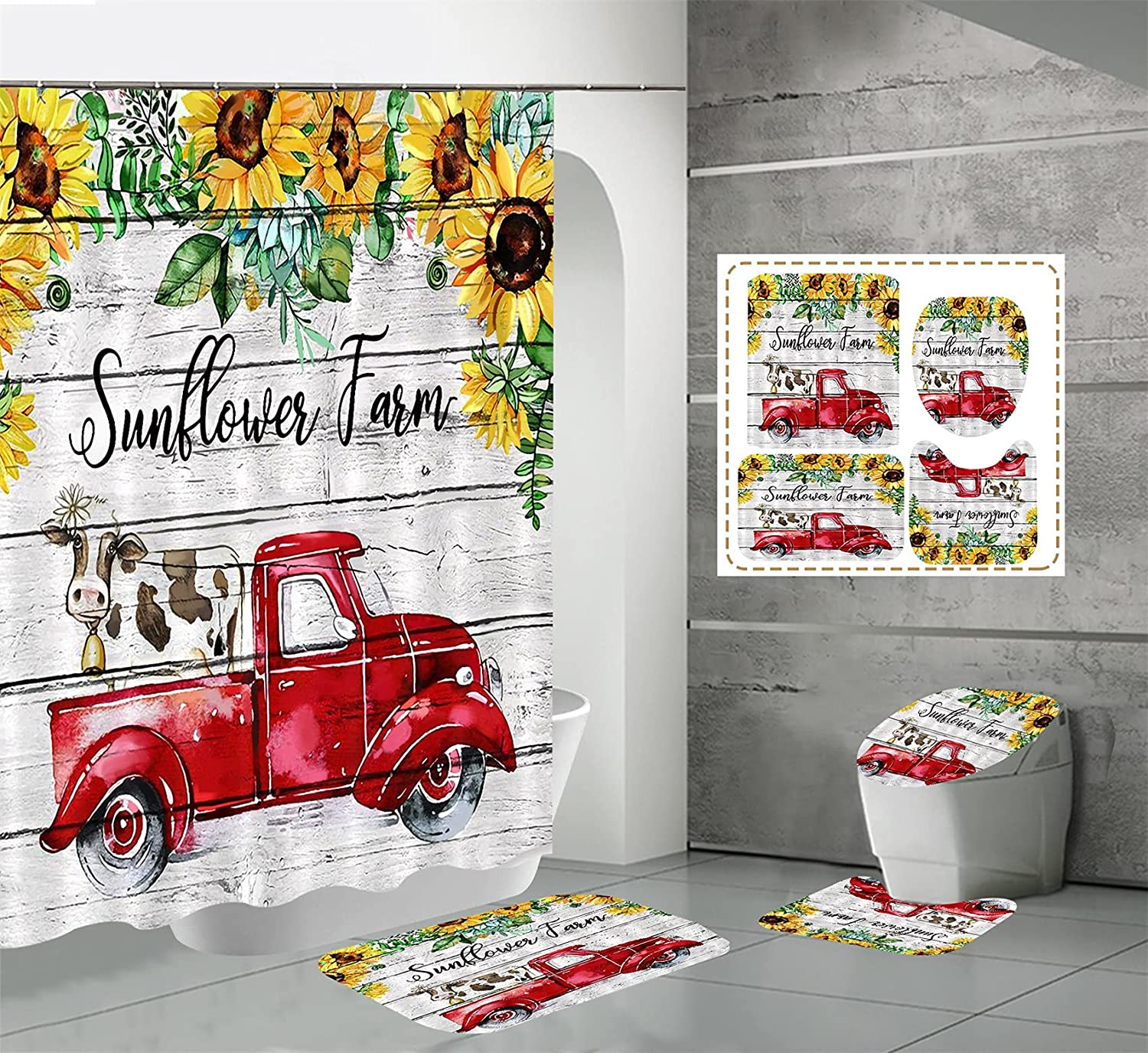 Ybest Sunflower New Free Shipping Shower Curtains Sets Piece 4 Planks Minneapolis Mall Gray Farmhou
