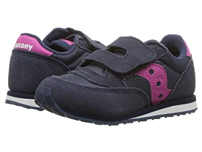Saucony Kids Originals Jazz Hook Loop (Toddler/Little Kid) (Navy/Pink) Girls Shoes