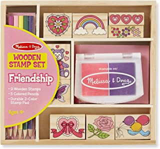 Melissa & Doug Wooden Stamp Set: Friendship (9 Stamps, 5 Colored Pencils, and 2-Color Stamp Pad, Great Gift for Girls and Boys - Best for 4, 5, 6 Year Olds and Up)