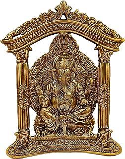 indoselection® Ganesha Decorative Metal Wall Art Sculpture Hanging and Showpiece Wall Hanging Metal Brass Sitting Wall Han...