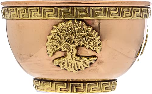 popular Alternative Imagination Tree of Life Copper Offering Bowl 2021 for Altar Use, Rituals, sale Incense, Smudging, Decoration, and More online sale