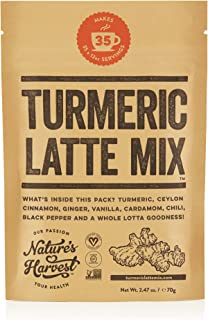 Nature's Harvest Turmeric Latte Mix | Organic Golden Milk Tur Latte Powder for Hot & Iced Coffee, Tea & More| 7 Powerful Spices & Healthy Anti-Inflammatory Curcumin Infusion | 35 Servings