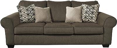 Benjara Textured Chenille Fabric Upholstered Queen Sofa Sleeper, Gray